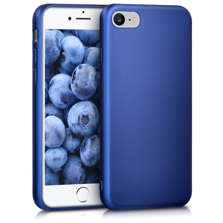 Kvalitní silikonové TPU pouzdro pro Apple iPhone 7 / 8 / SE  - modrá metalíza