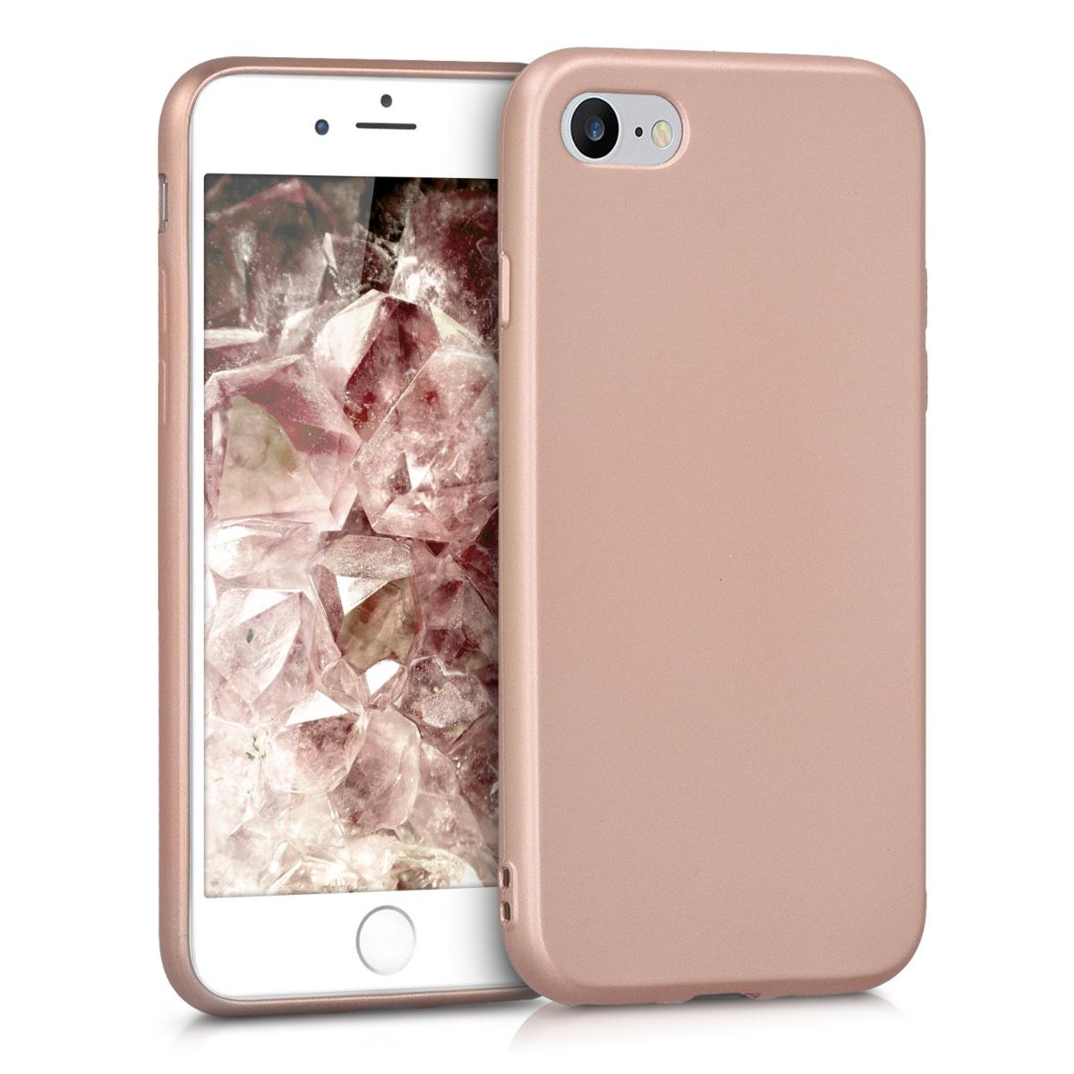 Kvalitní silikonové TPU pouzdro pro Apple iPhone 7 / 8 / SE  - Metallic Gold