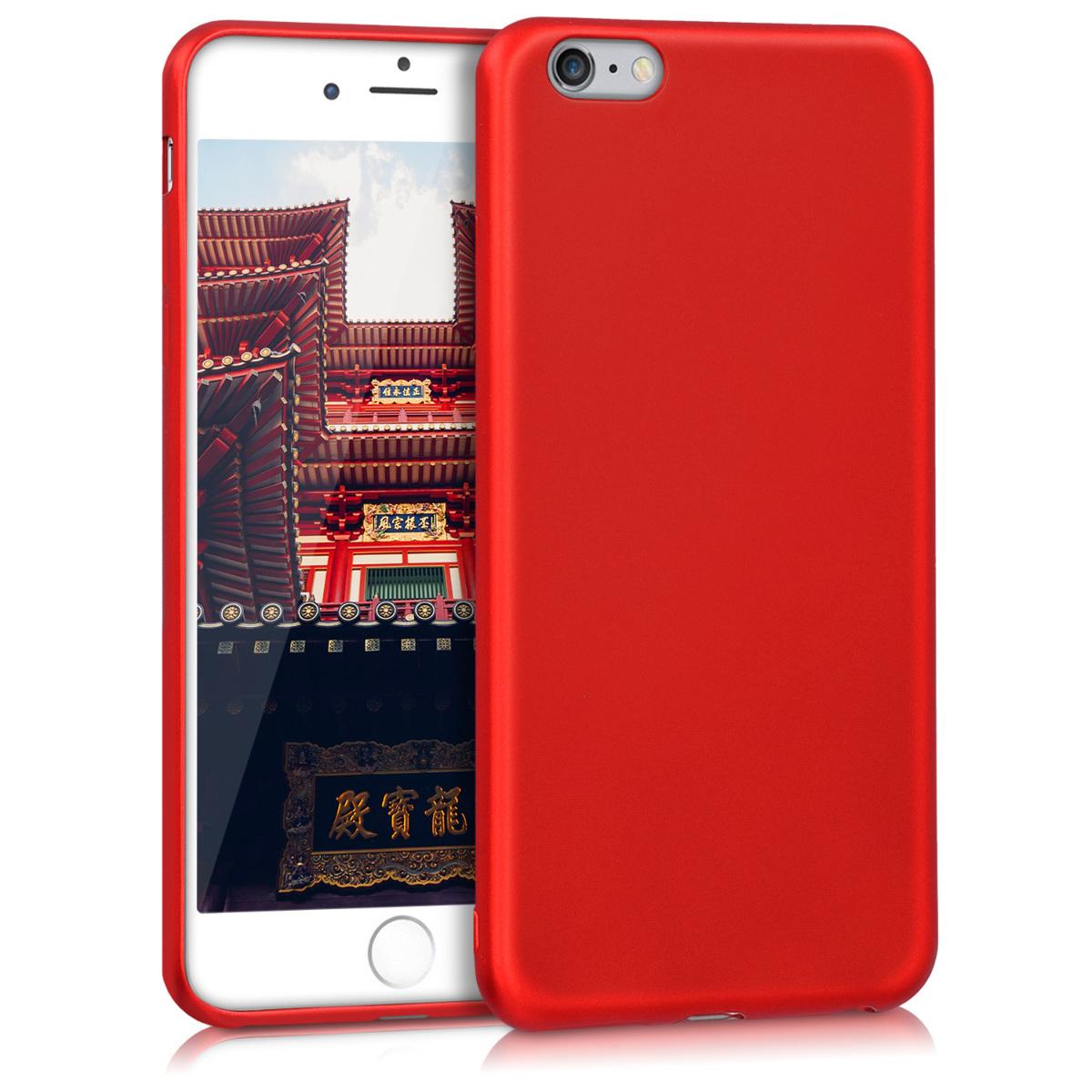 Kvalitní silikonové TPU pouzdro pro Apple iPhone 6 Plus / 6S - Metalíza Tmavě červená