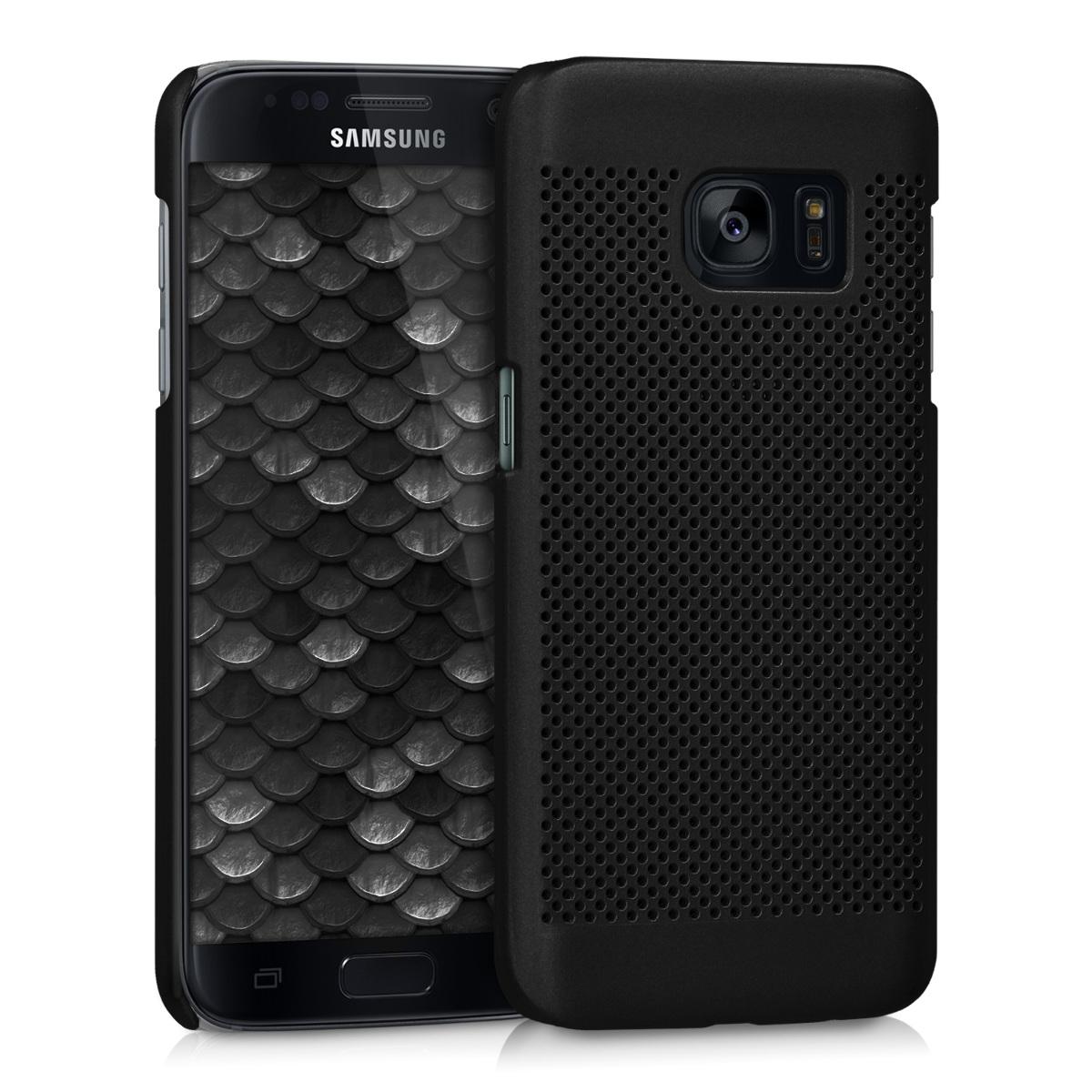 Kvalitní plastové pouzdro pro Samsung S7 - perforovaný černé