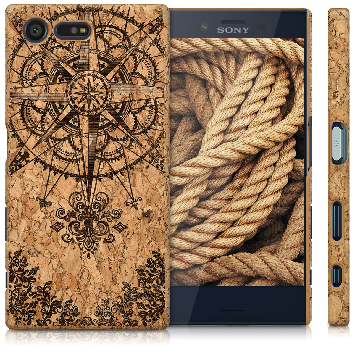 kwmobile-HARD-CASE-AVEC-LIEGE-POUR-SONY-XPERIA-X-COMPACT-COVER-HOUSSE-NATURE