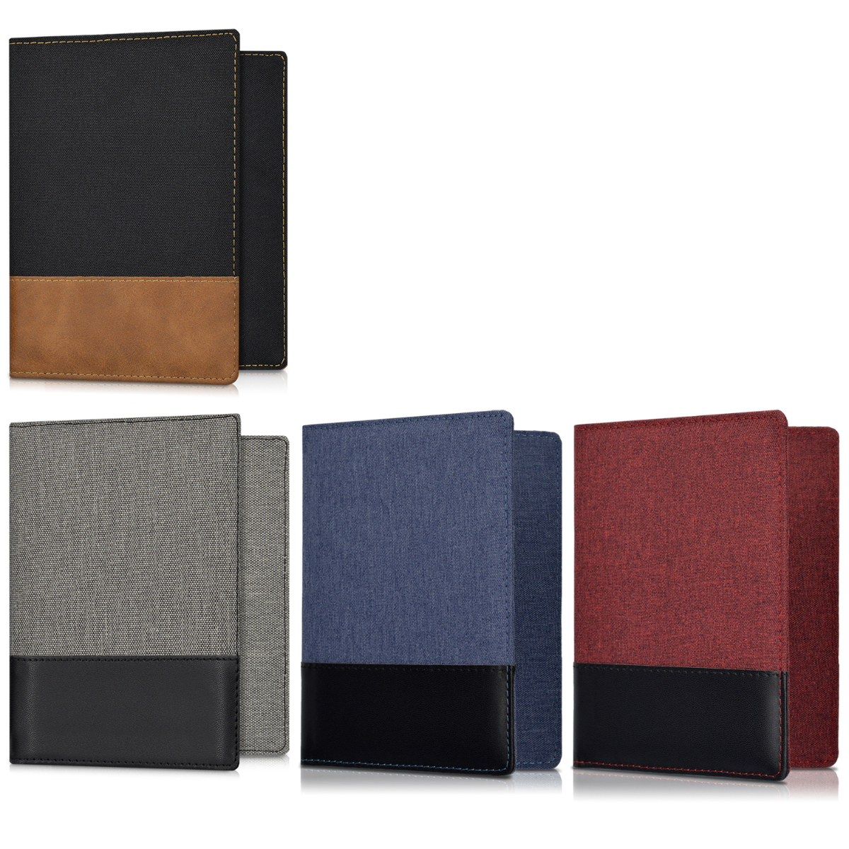 3341a28917e3 Details about PU Leather Canvas Passport Holder Travel Wallet in
