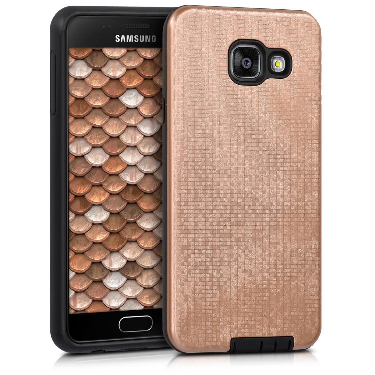 Kvalitní plastové pouzdro pro Samsung A3 (2016) - Hybrid Pattern Gold / černé