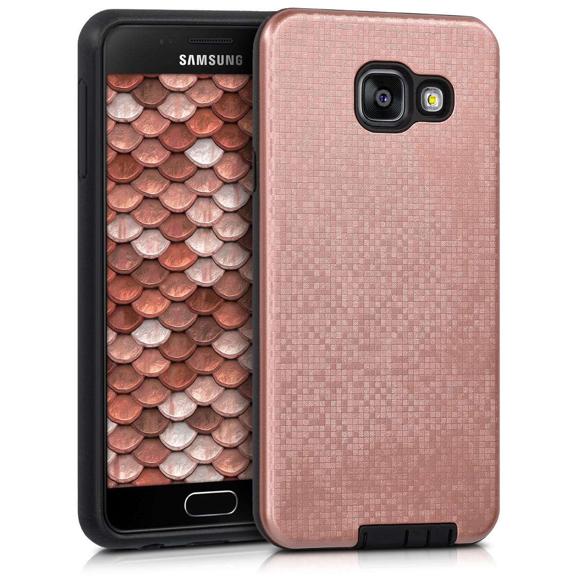 Kvalitní plastové pouzdro pro Samsung A3 (2016) - Hybrid Pattern starorůžové rosegold / černé