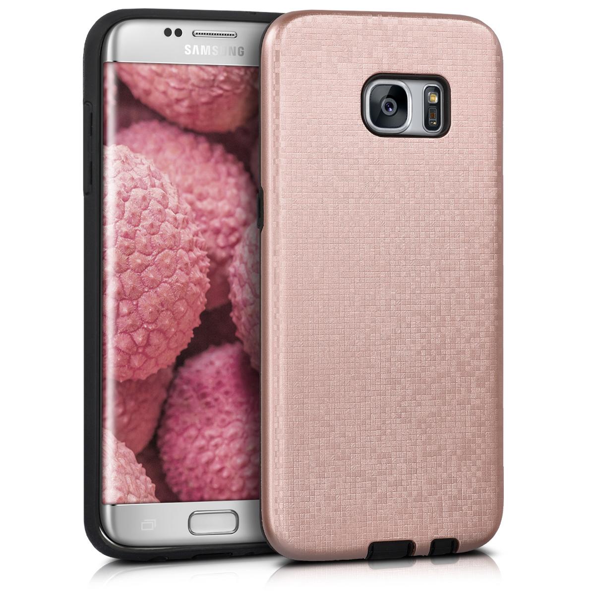 Kvalitní plastové pouzdro pro Samsung S7 Edge - Hybrid Pattern starorůžové rosegold / černé