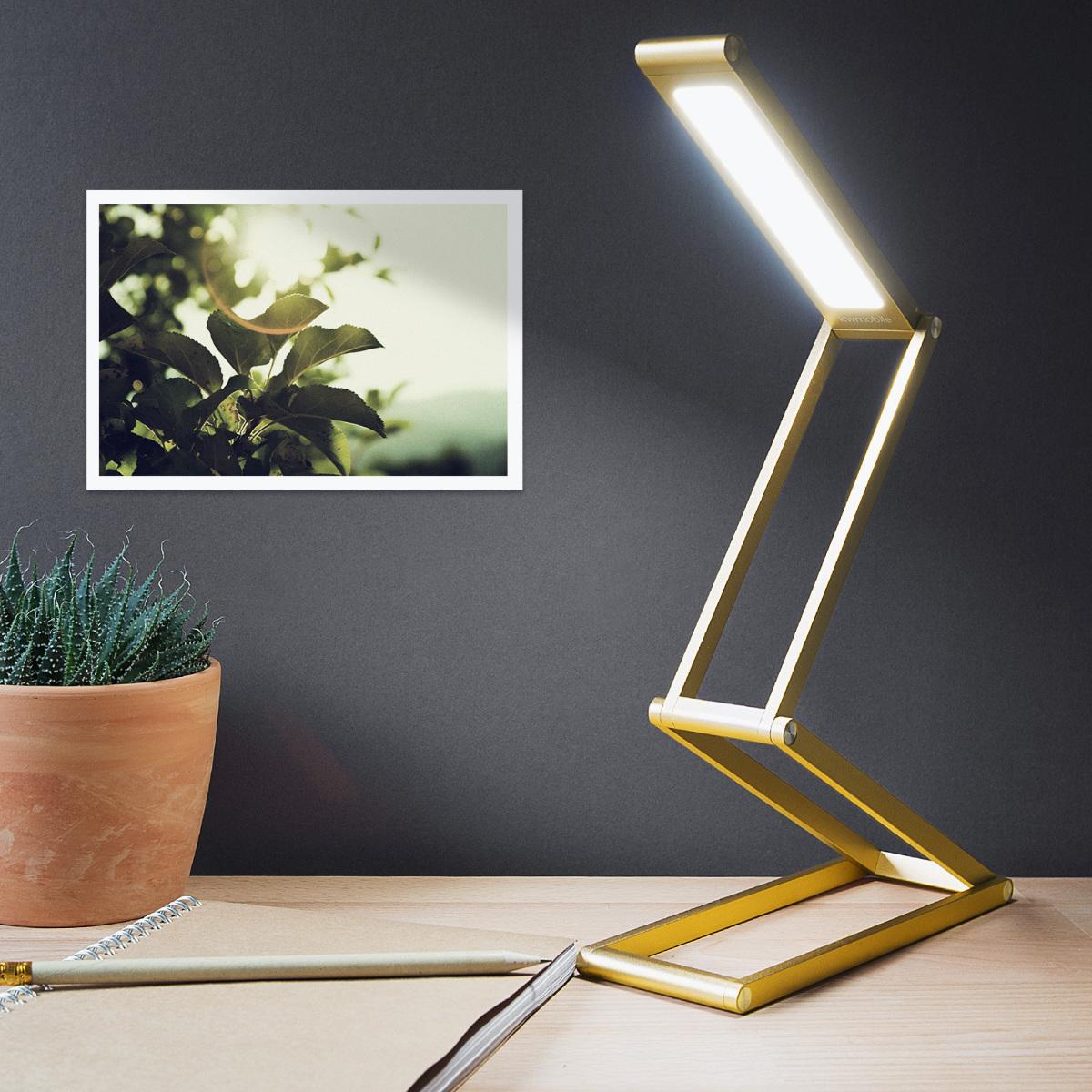 led aluminium tischlampe faltbar akku lampe dimmbar schreibtischlampe ladekabel ebay. Black Bedroom Furniture Sets. Home Design Ideas
