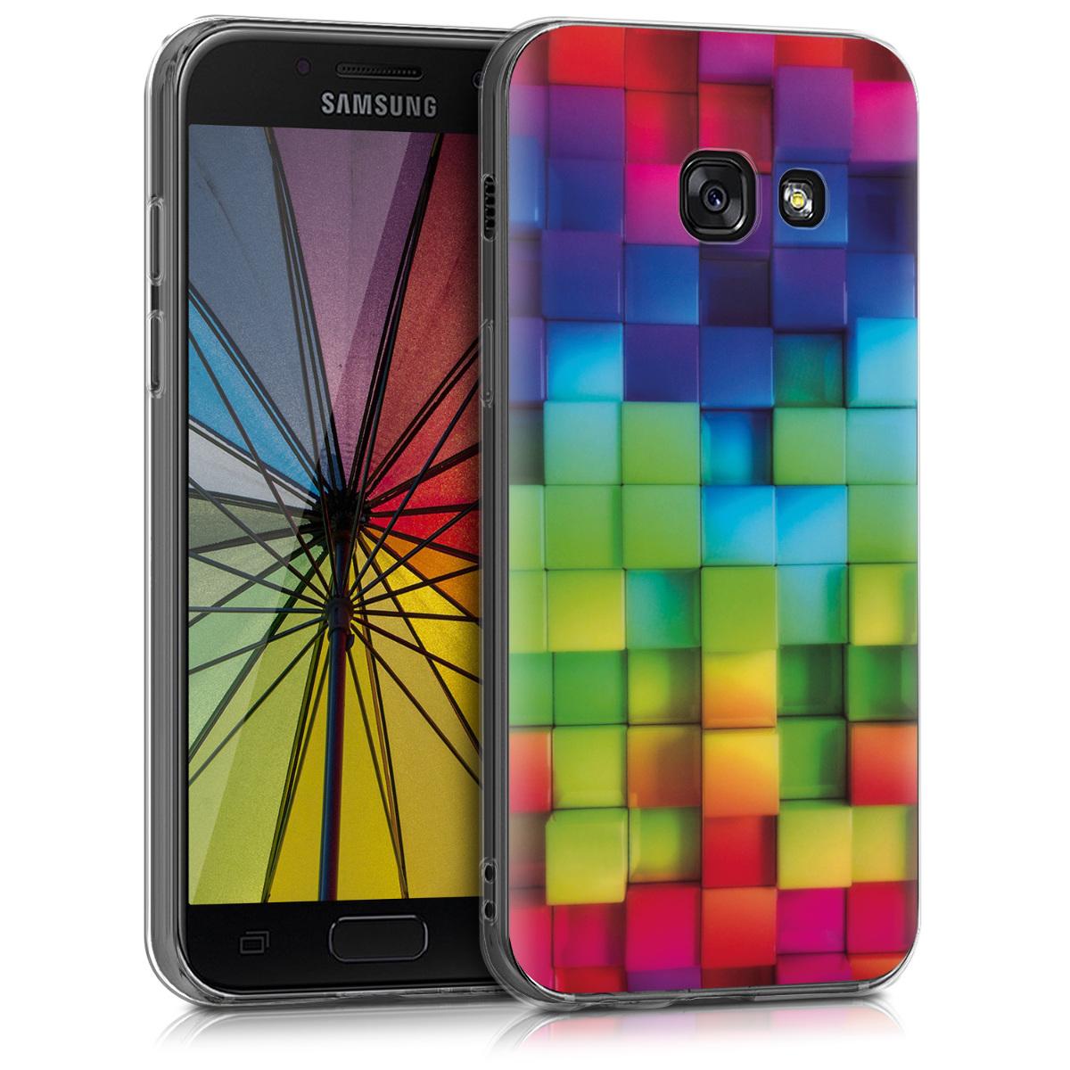 Kvalitní silikonové TPU pouzdro pro Samsung A3 (2017) - Duha Cubes Multicolor / zelená / modré