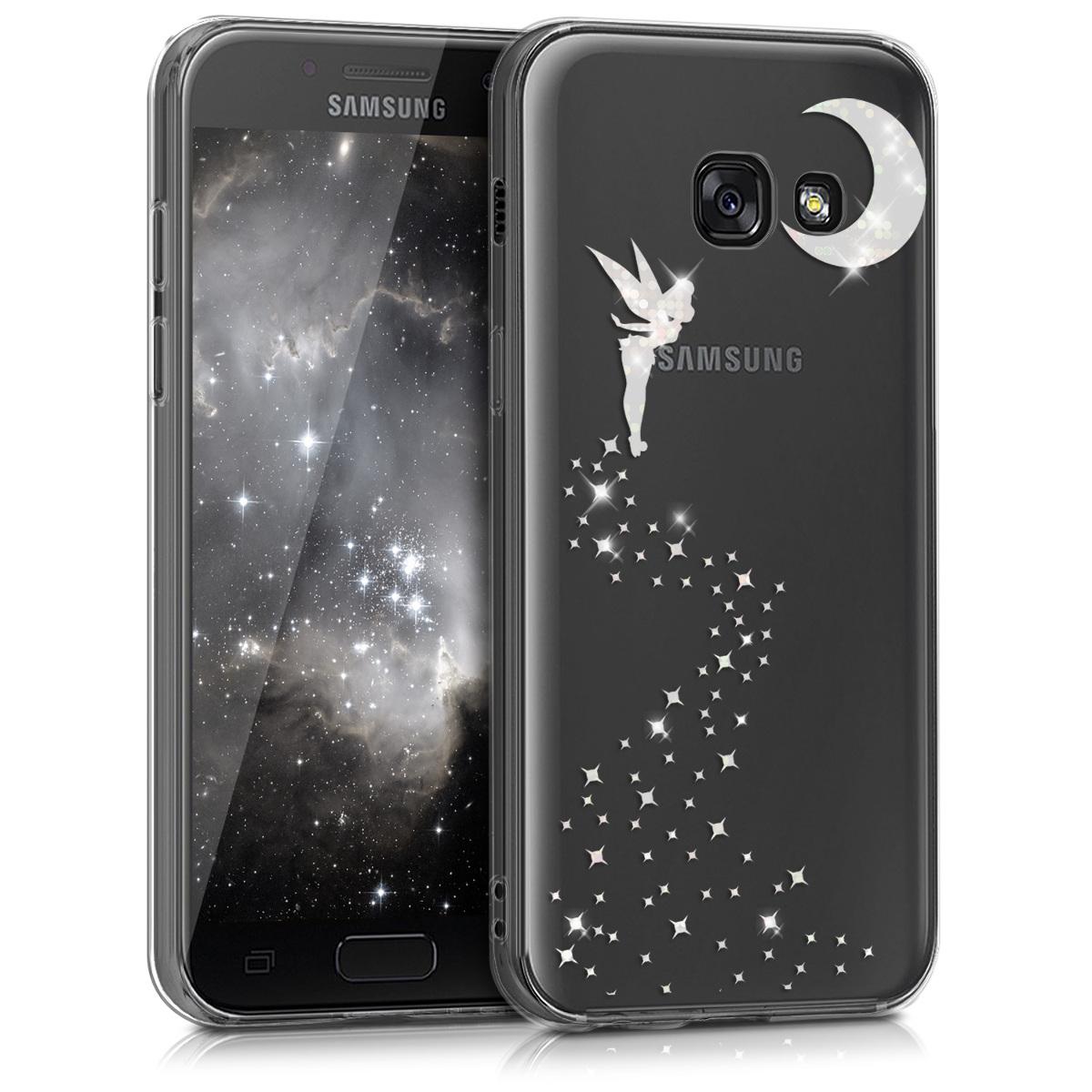 Kvalitní silikonové TPU pouzdro pro Samsung A3 (2017) - Třpytivé víla stříbrné / transparentní