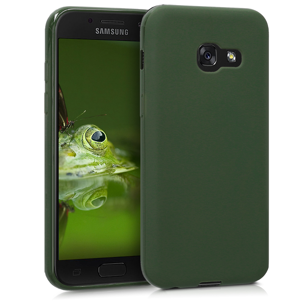 Kvalitní silikonové TPU pouzdro pro Samsung A3 (2017) - tmavě zelené matné