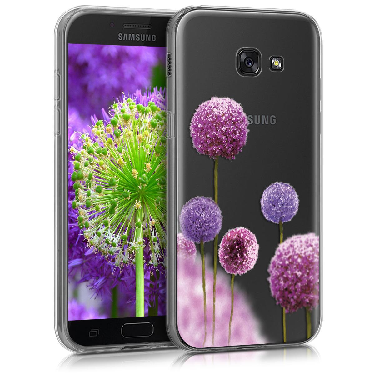Kvalitní silikonové TPU pouzdro pro Samsung A5 (2017) - Květina koule tmavě růžová / fialová / transparentní