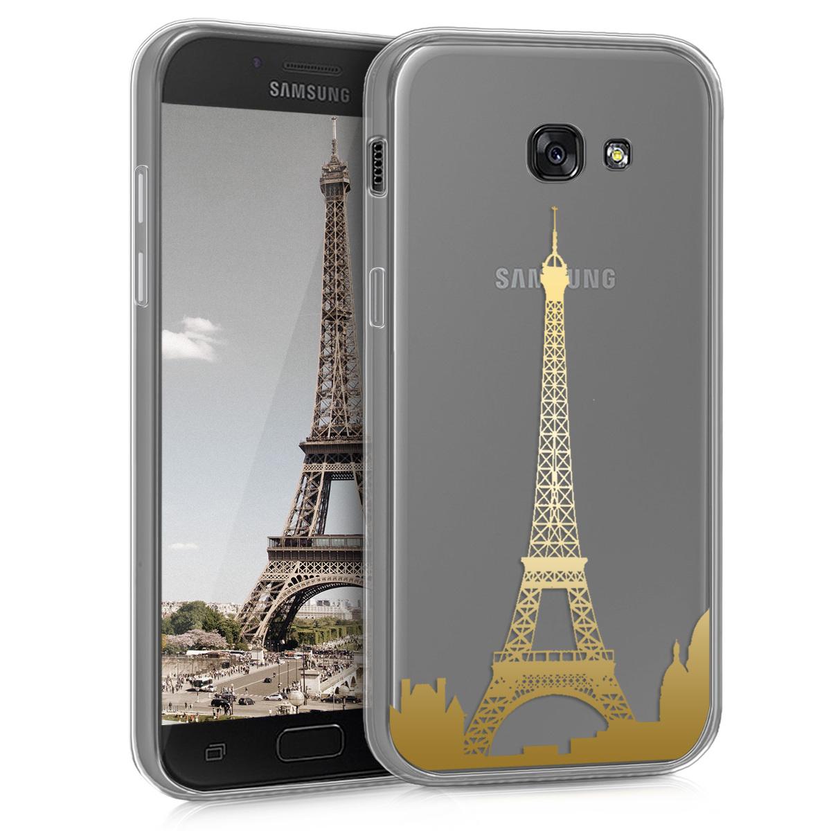 Kvalitní silikonové TPU pouzdro pro Samsung A5 (2017) - Eiffelova věž Přehled Gold / transparentní