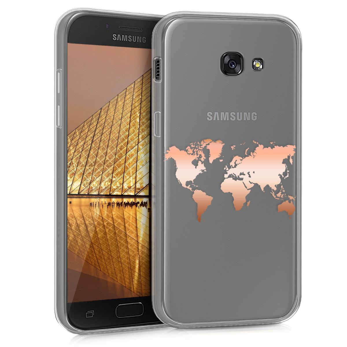 Kvalitní silikonové TPU pouzdro pro Samsung A5 (2017) - Travel Outline starorůžové rosegold / transparentní