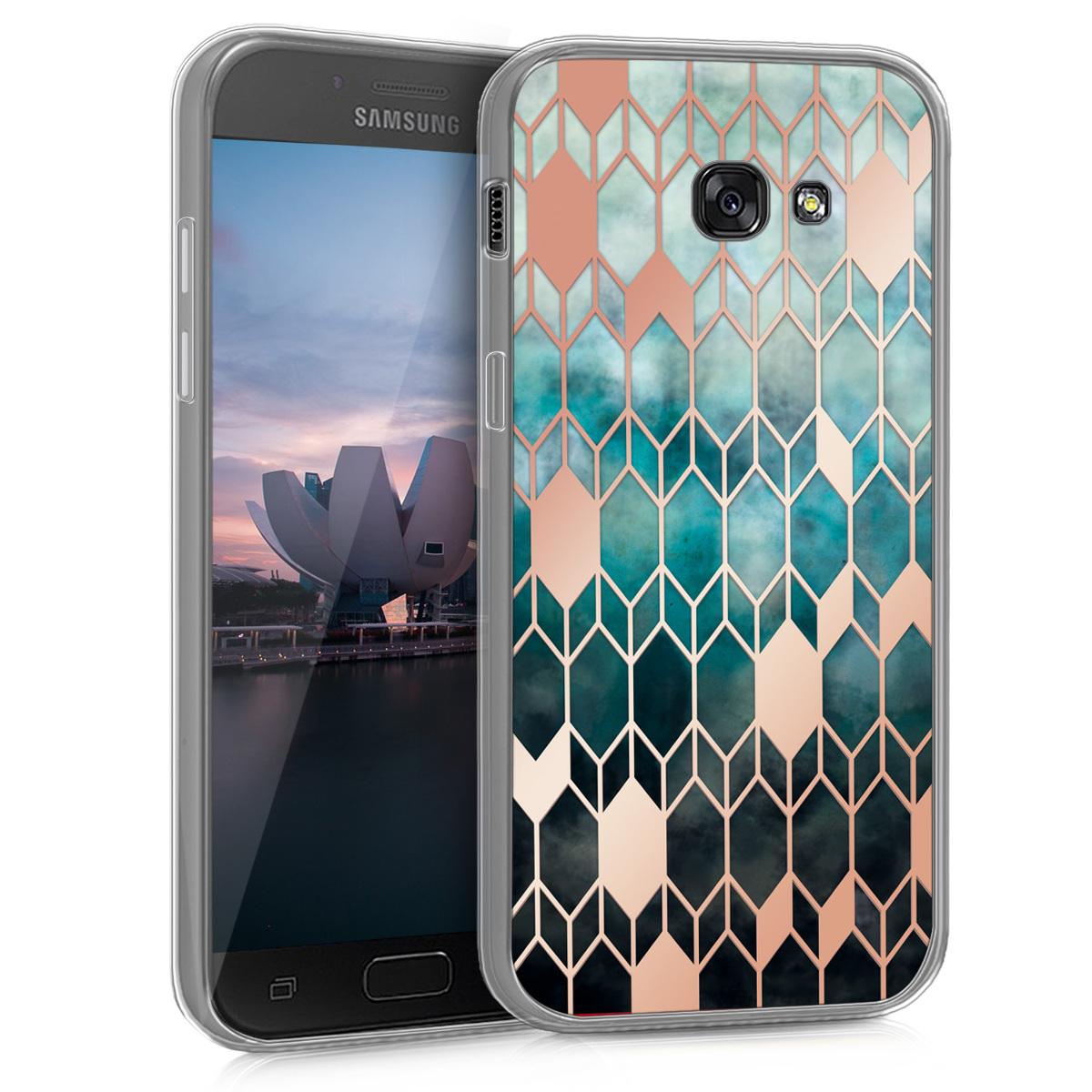 Kvalitní silikonové TPU pouzdro pro Samsung A5 (2017) - Glory modré / starorůžové rosegold
