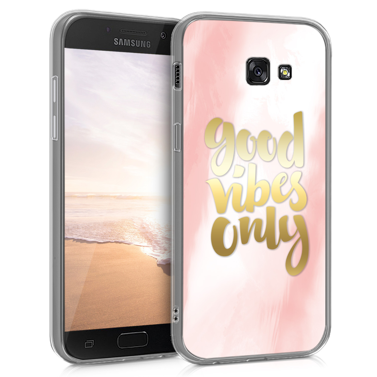 Kvalitní silikonové TPU pouzdro pro Samsung A5 (2017) - Good Vibes světle růžové / Gold / bílé