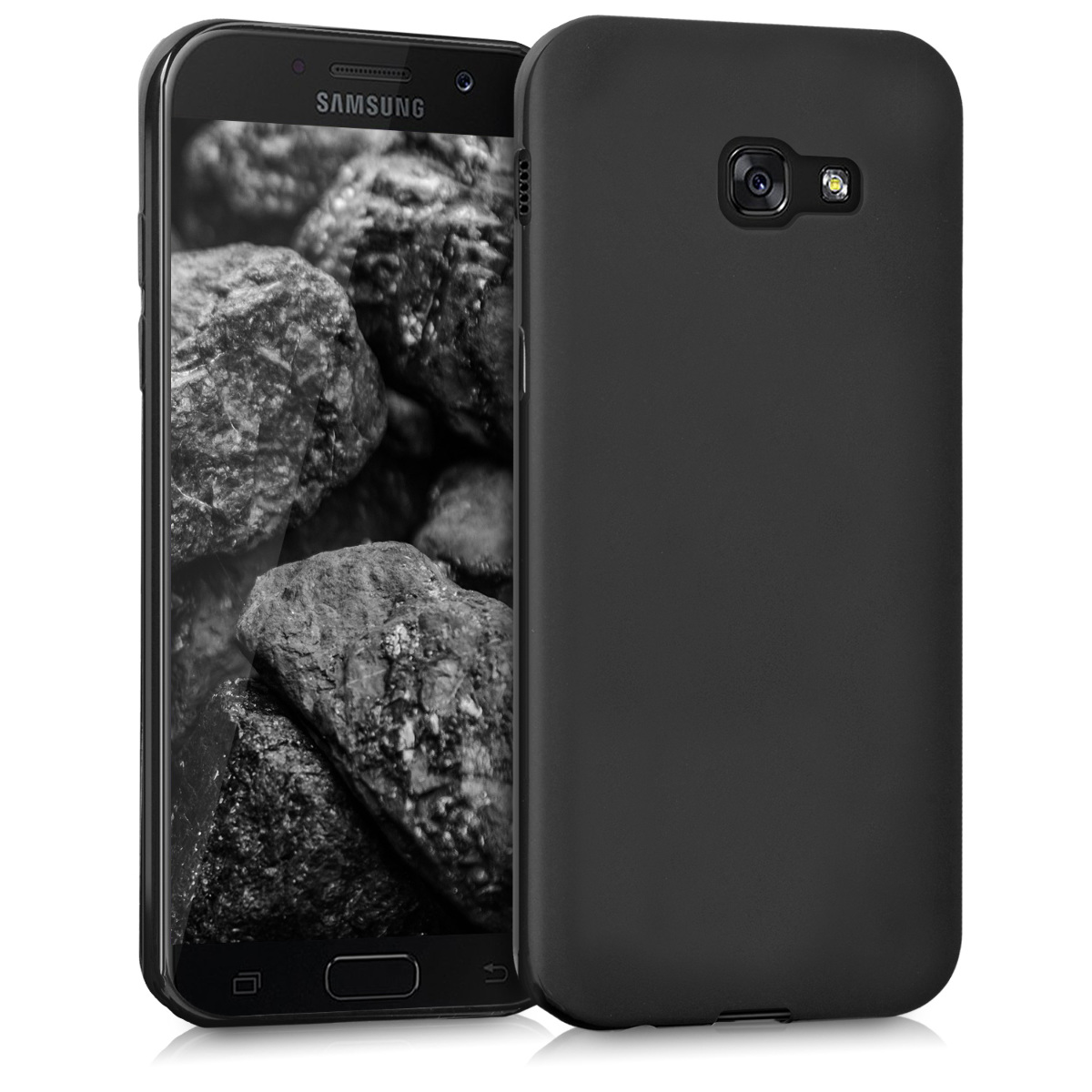 tpu silicone cover for samsung galaxy a5 2017 black matt. Black Bedroom Furniture Sets. Home Design Ideas