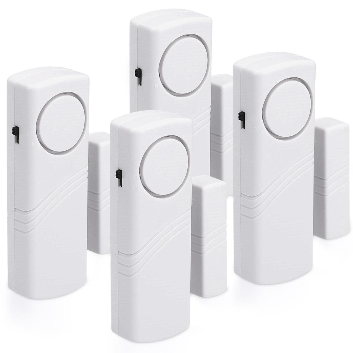 kwmobile 4x alarmanlage t r und fenster alarm einbruchschutz inkl batterien ebay. Black Bedroom Furniture Sets. Home Design Ideas