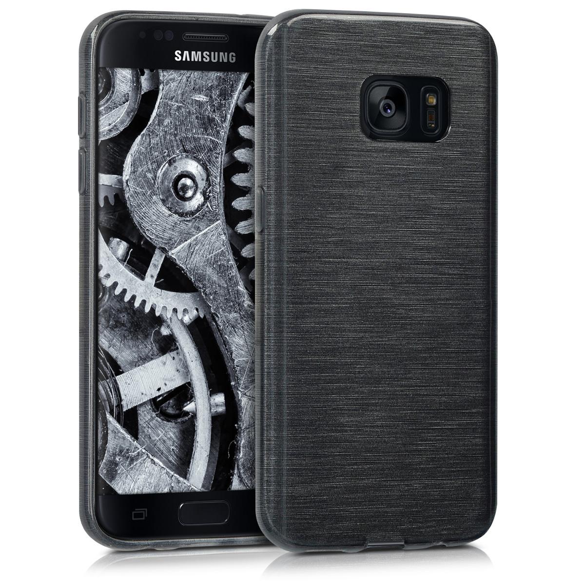 Kvalitní silikonové TPU pouzdro pro Samsung S7 - Broušený hliník Anthracite / transparentní