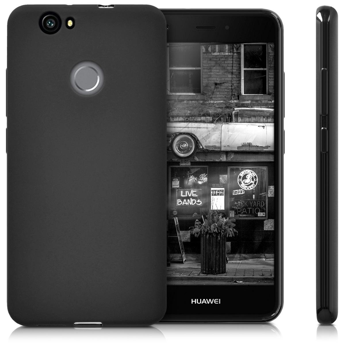 TPU Schutz Hülle für Huawei Nova Schwarz matt Case Silikon Cover Handy Tasche
