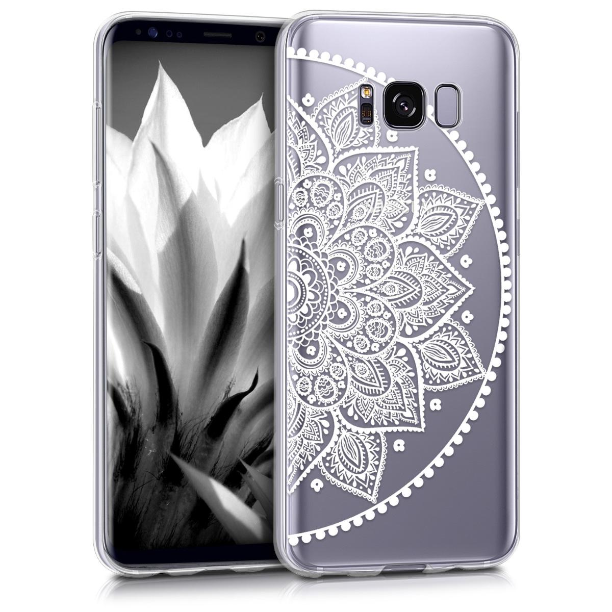 Kvalitní silikonové TPU pouzdro pro Samsung S8 - Indian Half-květiny bílé / transparentní