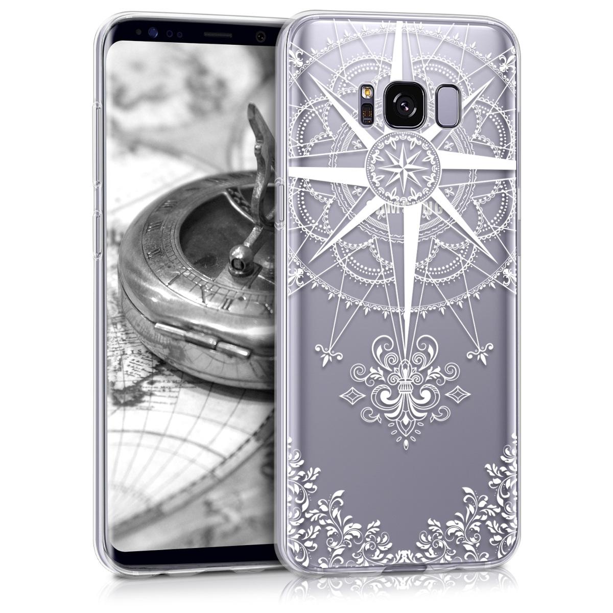 Kvalitní silikonové TPU pouzdro pro Samsung S8 - Barokní Compass bílé / transparentní