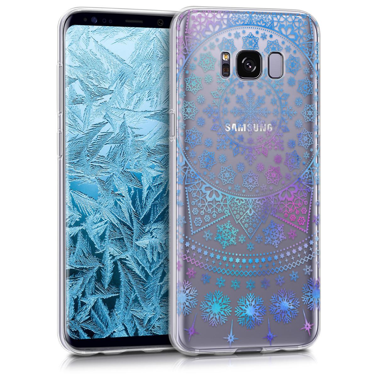 Kvalitní silikonové TPU pouzdro pro Samsung S8 - Arctic Vločka modré / tmavě růžová / transparentní