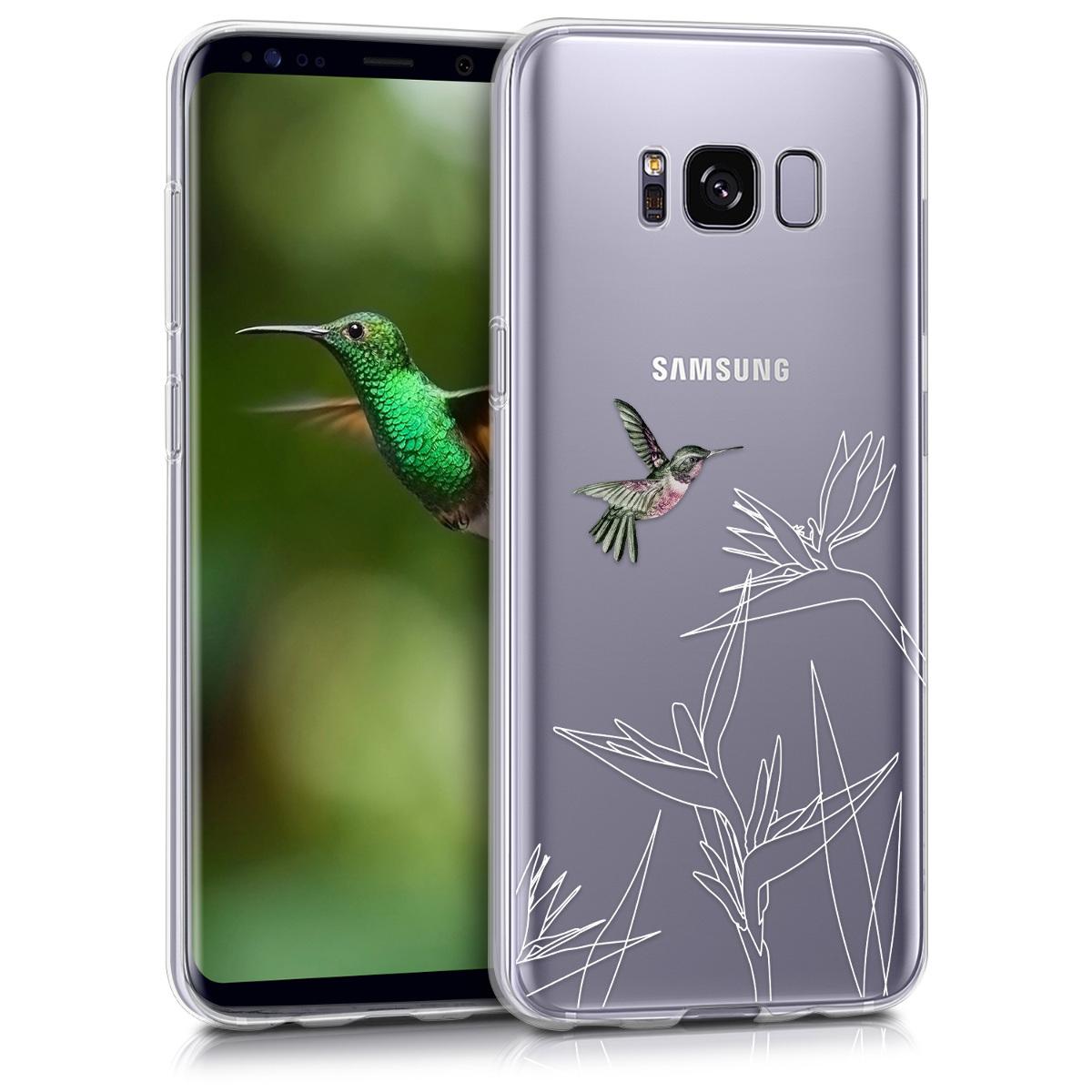 Kvalitní silikonové TPU pouzdro pro Samsung S8 - Kolibřík a květiny tmavě růžové / bílé / Transparen