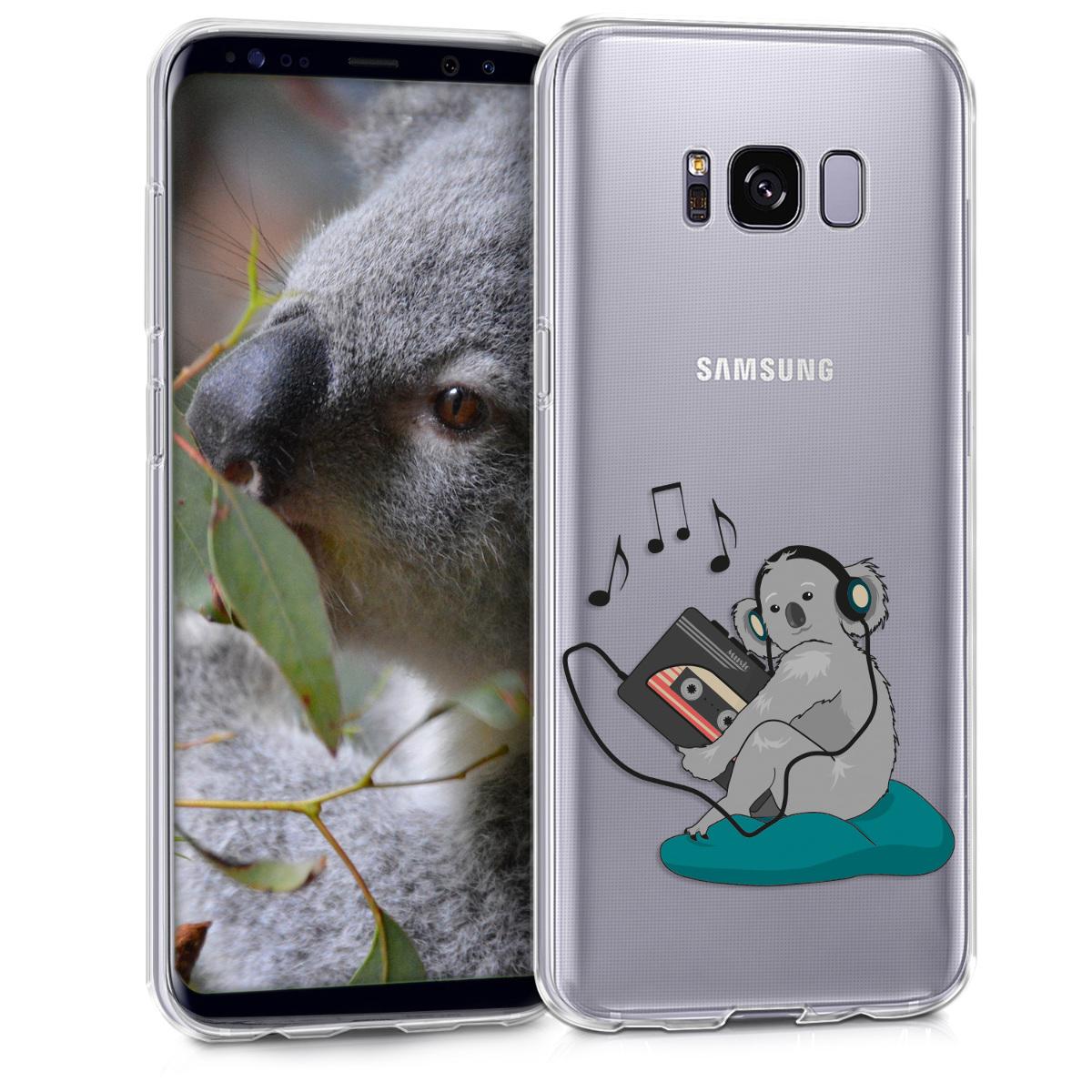 Kvalitní silikonové TPU pouzdro pro Samsung S8 - Koala s Walkman Grey / Petrol / transparentní