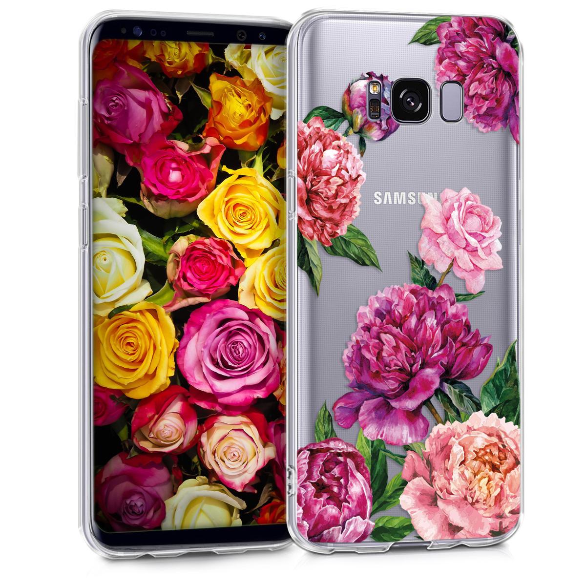 Kvalitní silikonové TPU pouzdro pro Samsung S8 - květiny Mix fialové / růžové / transparentní