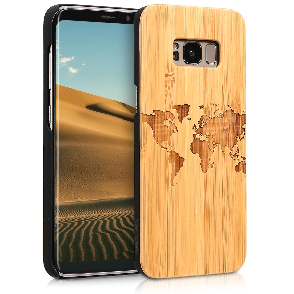Dřevěné pouzdro pro Samsung S8 - Travel Outline světle Brown