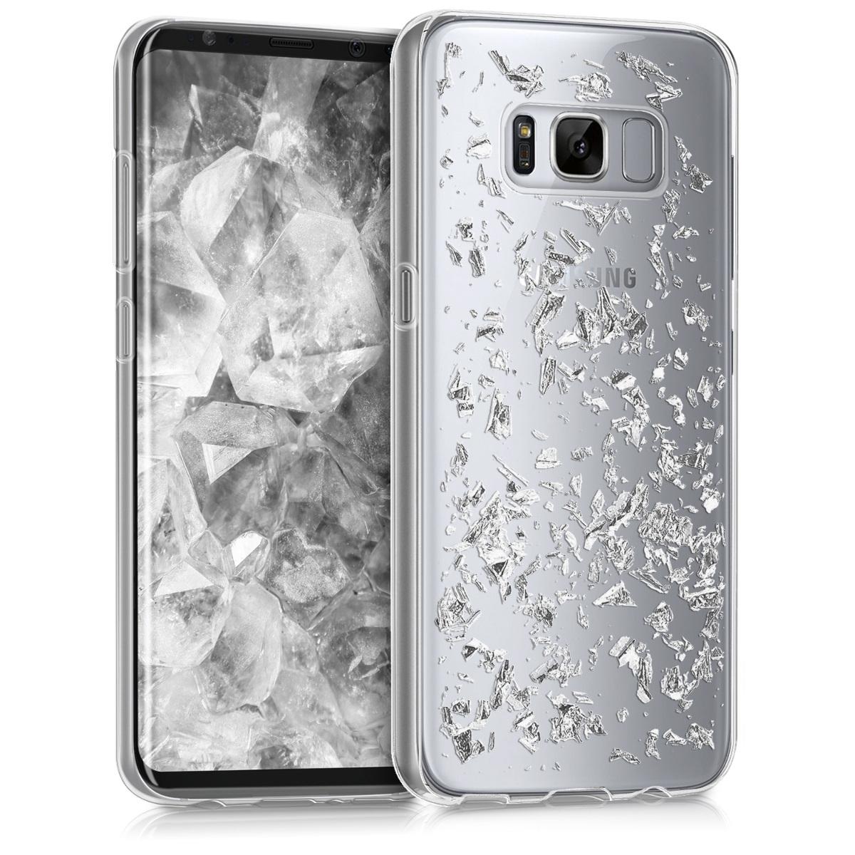 Kvalitní silikonové TPU pouzdro pro Samsung S8 - Vločky stříbrné / transparentní