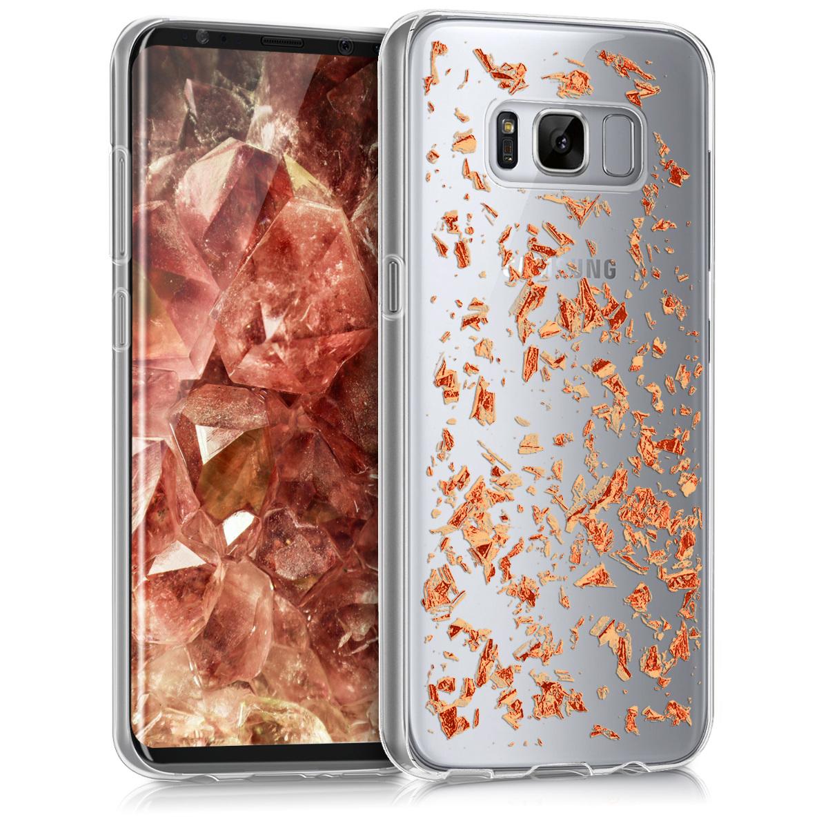 Kvalitní silikonové TPU pouzdro pro Samsung S8 - Vločky starorůžové rosegold / transparentní