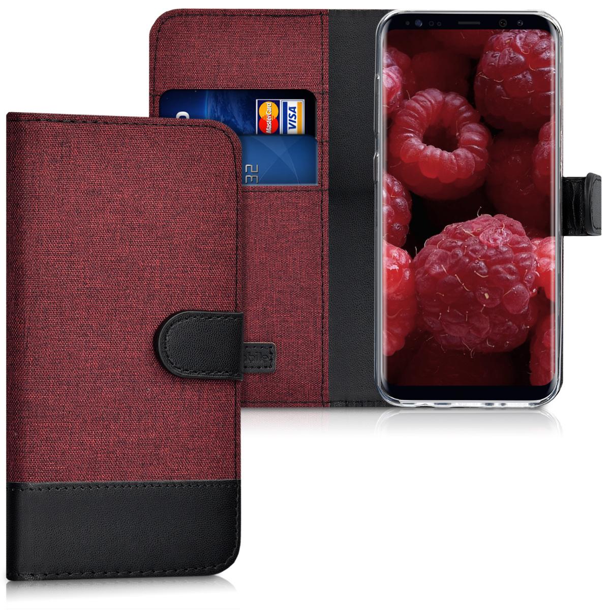 Fabricpouzdro pro Samsung S8 - tmavě červené / černé