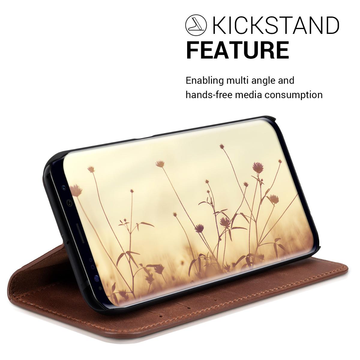 Wallet Slim Leder Case für Samsung Galaxy S8 Cognac Hülle Cover Handy Tasche