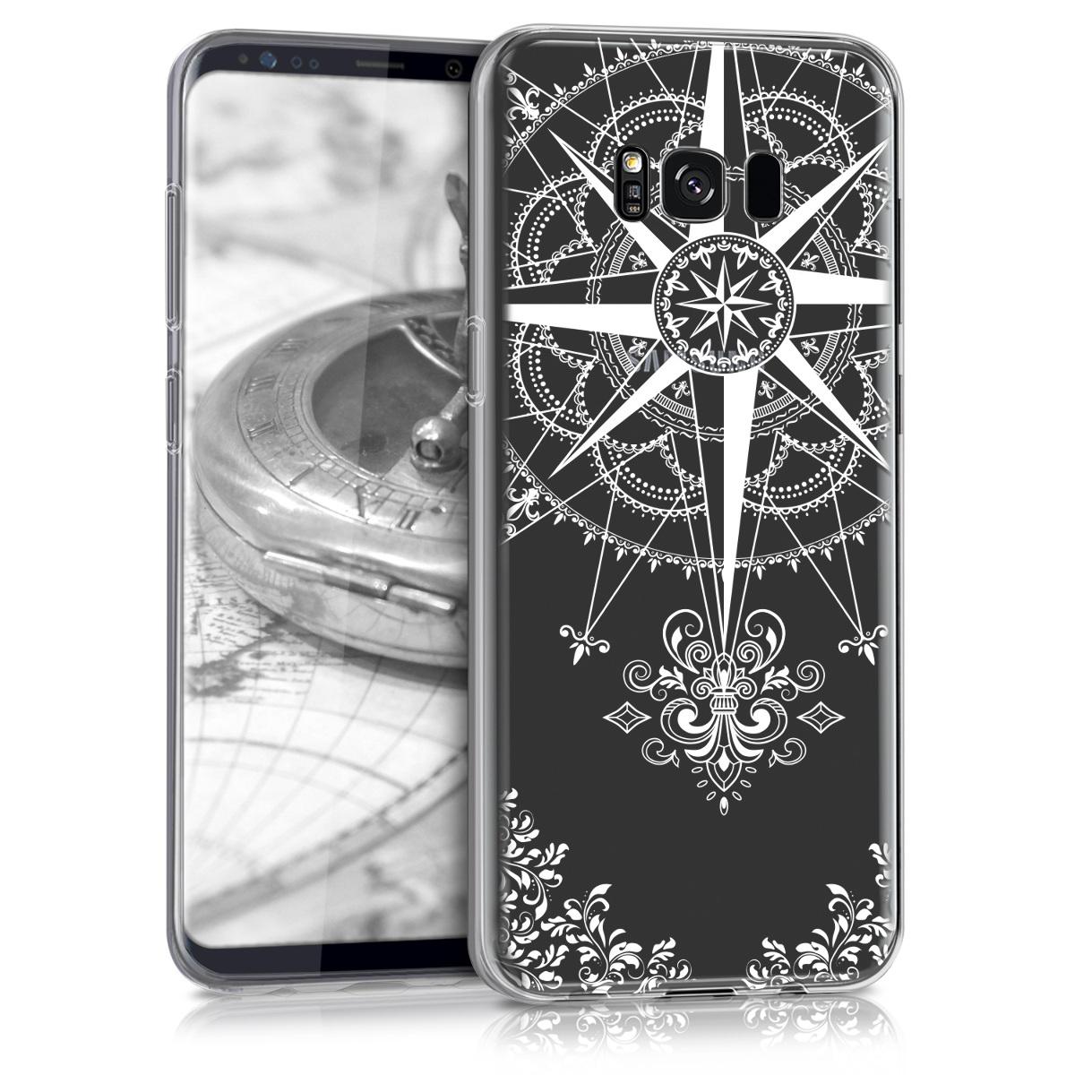 Kvalitní silikonové TPU pouzdro pro Samsung S8 Plus - Barokní Compass bílé / transparentní