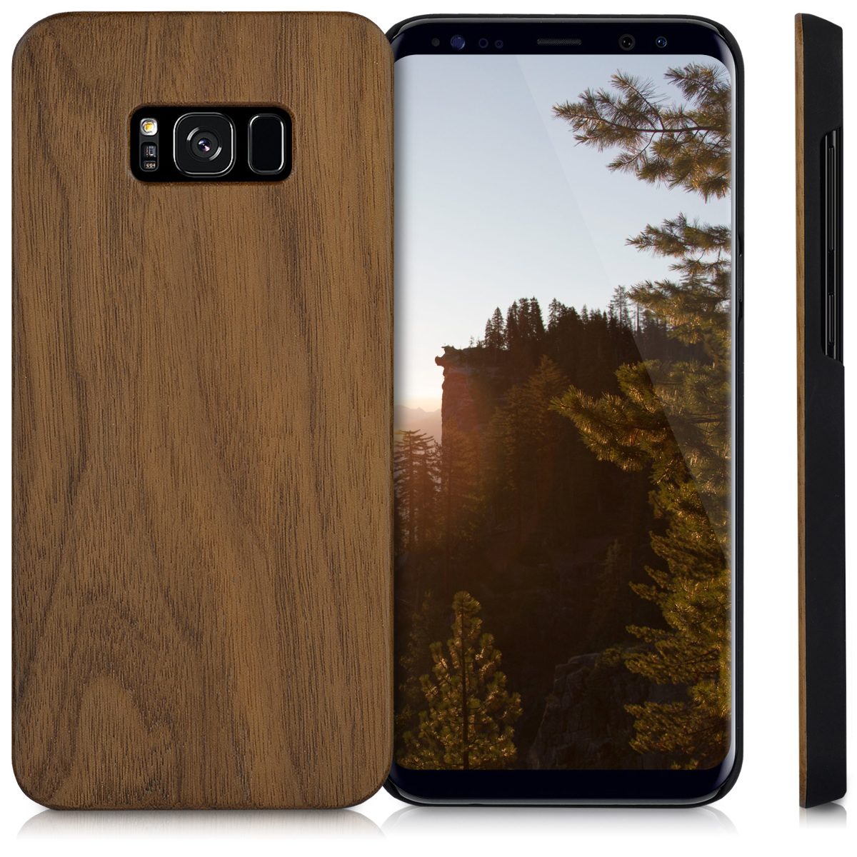 holz case f r samsung galaxy s8 plus walnussholz dunkelbraun h lle handy cover ebay. Black Bedroom Furniture Sets. Home Design Ideas