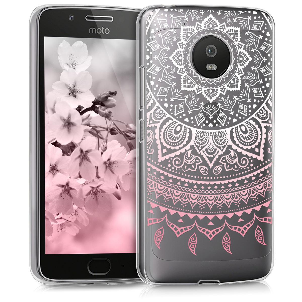 Kvalitní silikonové TPU pouzdro | obal pro Motorola Moto G5 - Indian Sun Pink / White / Transparent
