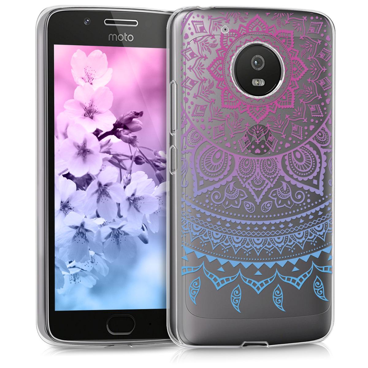 Kvalitní silikonové TPU pouzdro | obal pro Motorola Moto G5 - Indiánská sluneční modř / tmavě růžová / průhledná