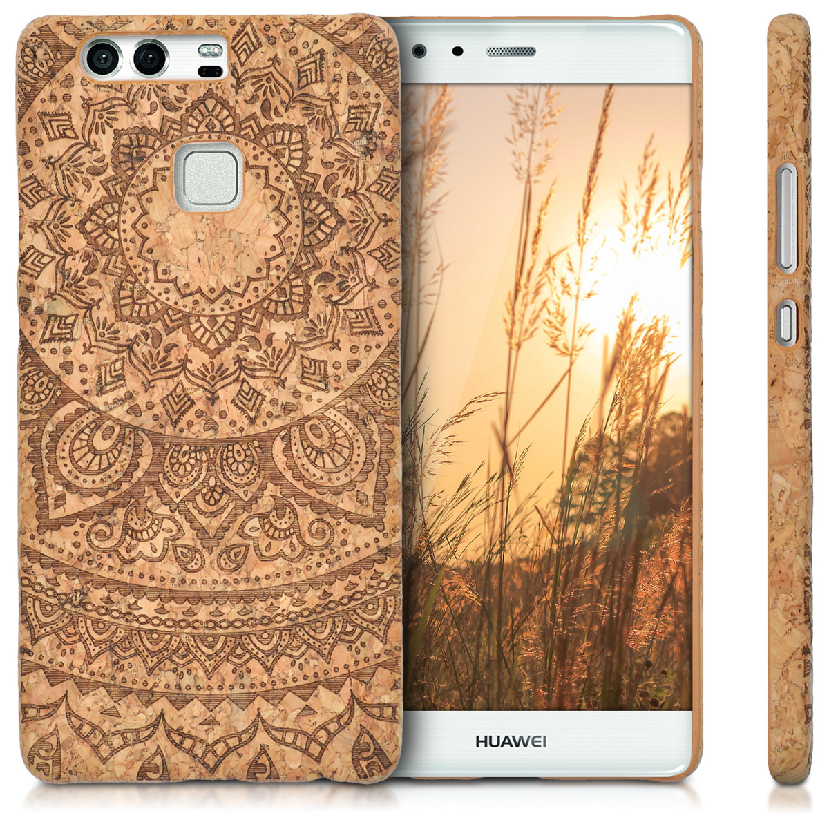 kwmobile-HARD-CASE-AVEC-LIEGE-POUR-HUAWEI-P9-COVER-HOUSSE-PROTECTION-NATURE