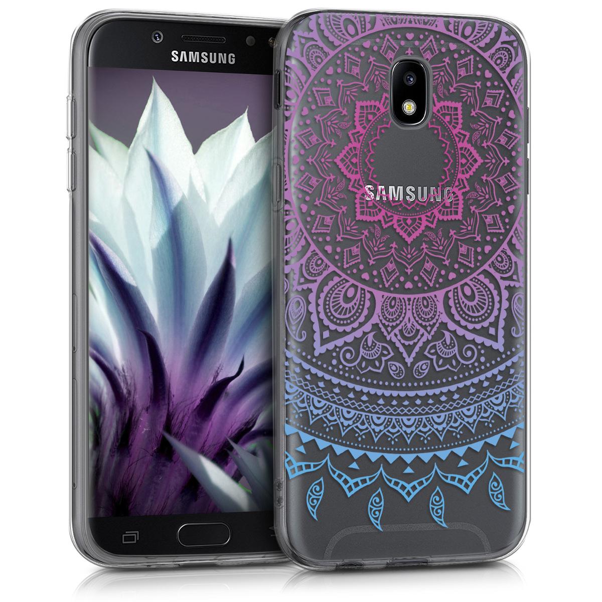 Kvalitní silikonové TPU pouzdro pro Samsung J5 (2017) DUOS - indické slunce modré / tmavě růžová / transparentní