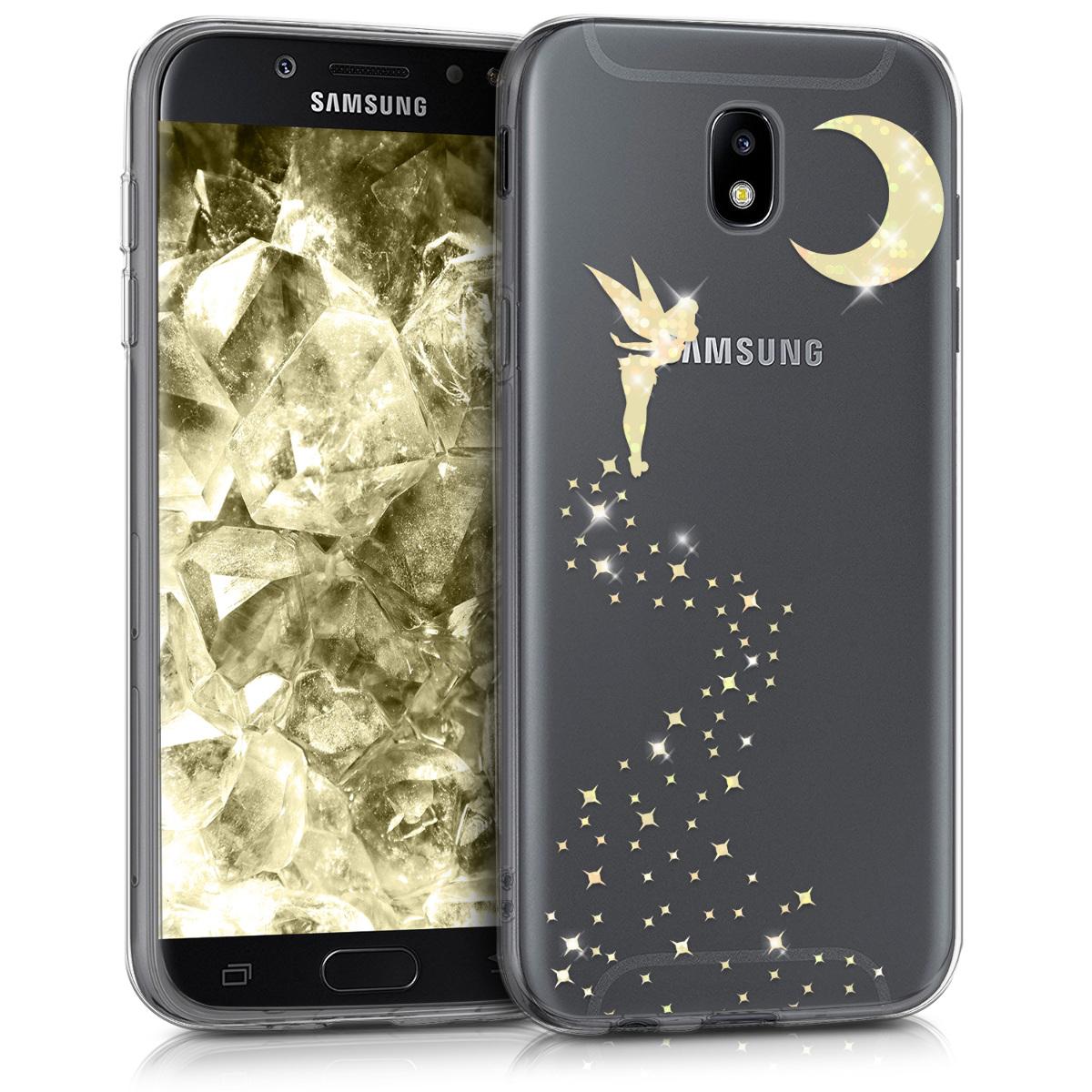 Kvalitní silikonové TPU pouzdro pro Samsung J5 (2017) DUOS - Třpytivé víla Gold / transparentní