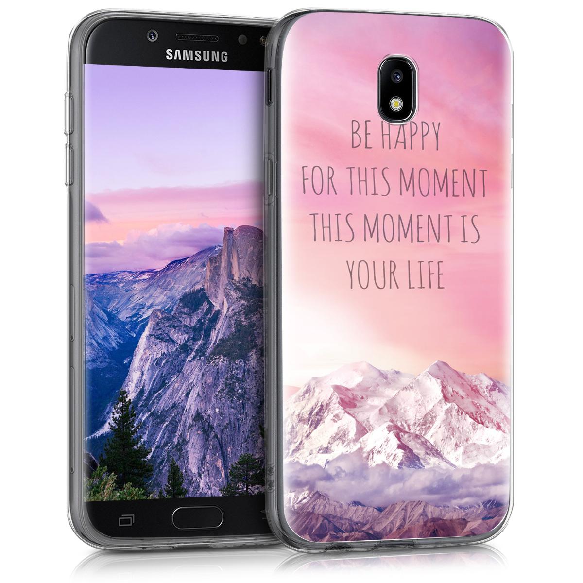 Kvalitní silikonové TPU pouzdro pro Samsung J5 (2017) DUOS - Be Happy Moment světle  růžová / fialová / korálově oranžové