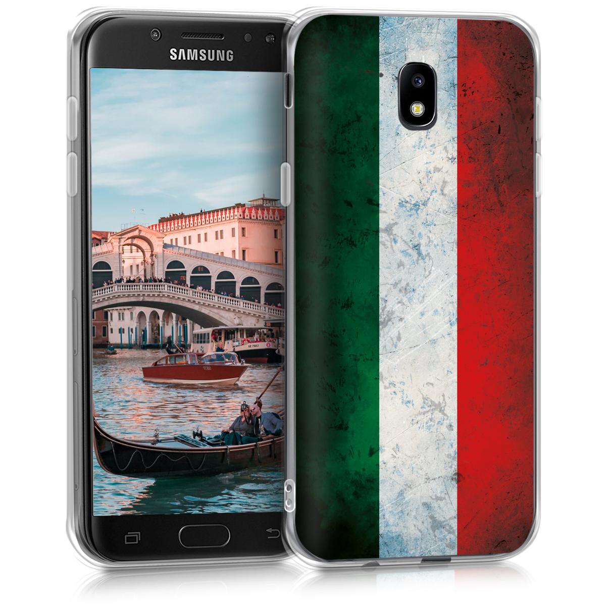 Kvalitní silikonové TPU pouzdro pro Samsung J5 (2017) DUOS - Italský Grunge zelené / bílé / červené