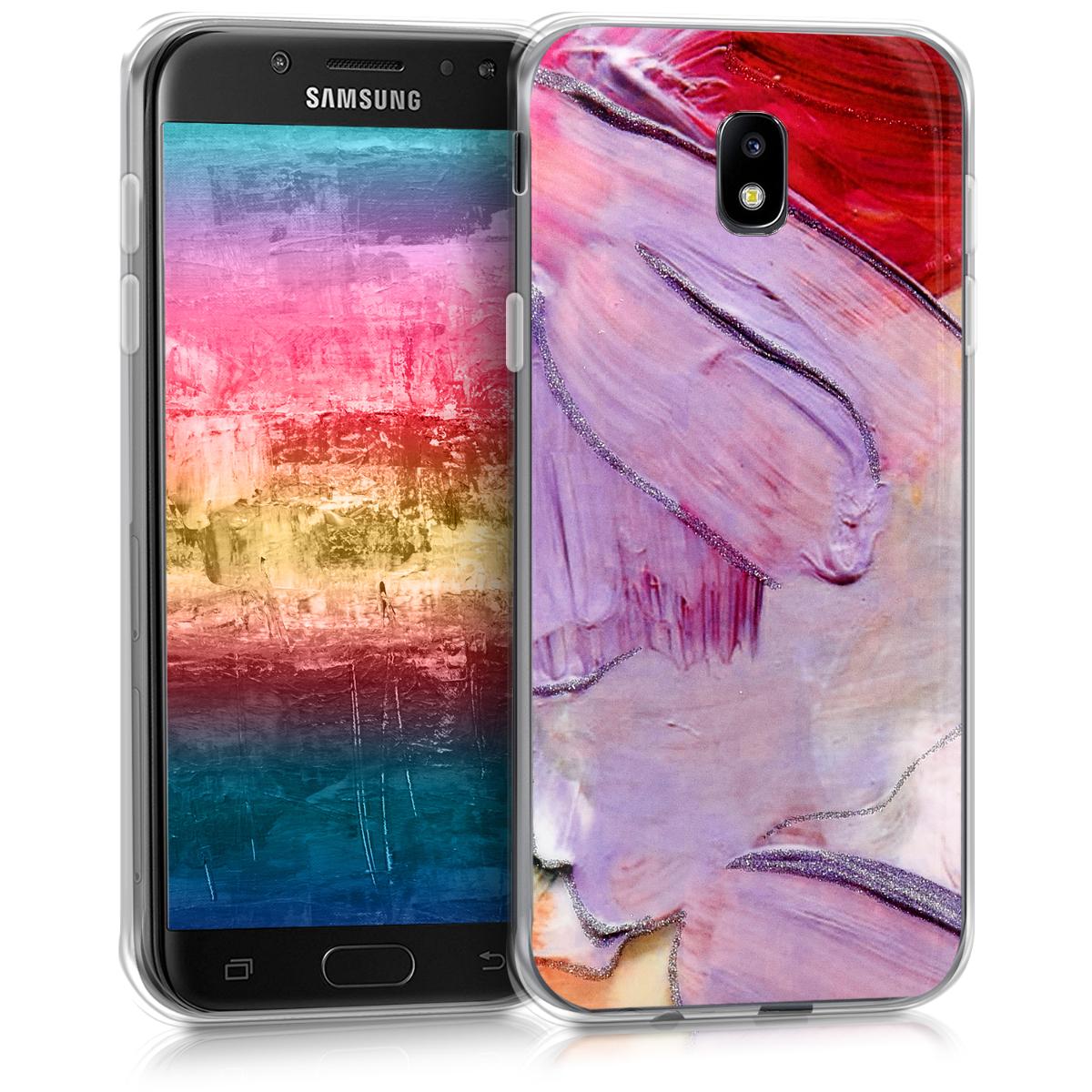 Kvalitní silikonové TPU pouzdro pro Samsung J5 (2017) DUOS - Třpytivé Color Stříknutí fialové / tmavě růžová / světle Pin