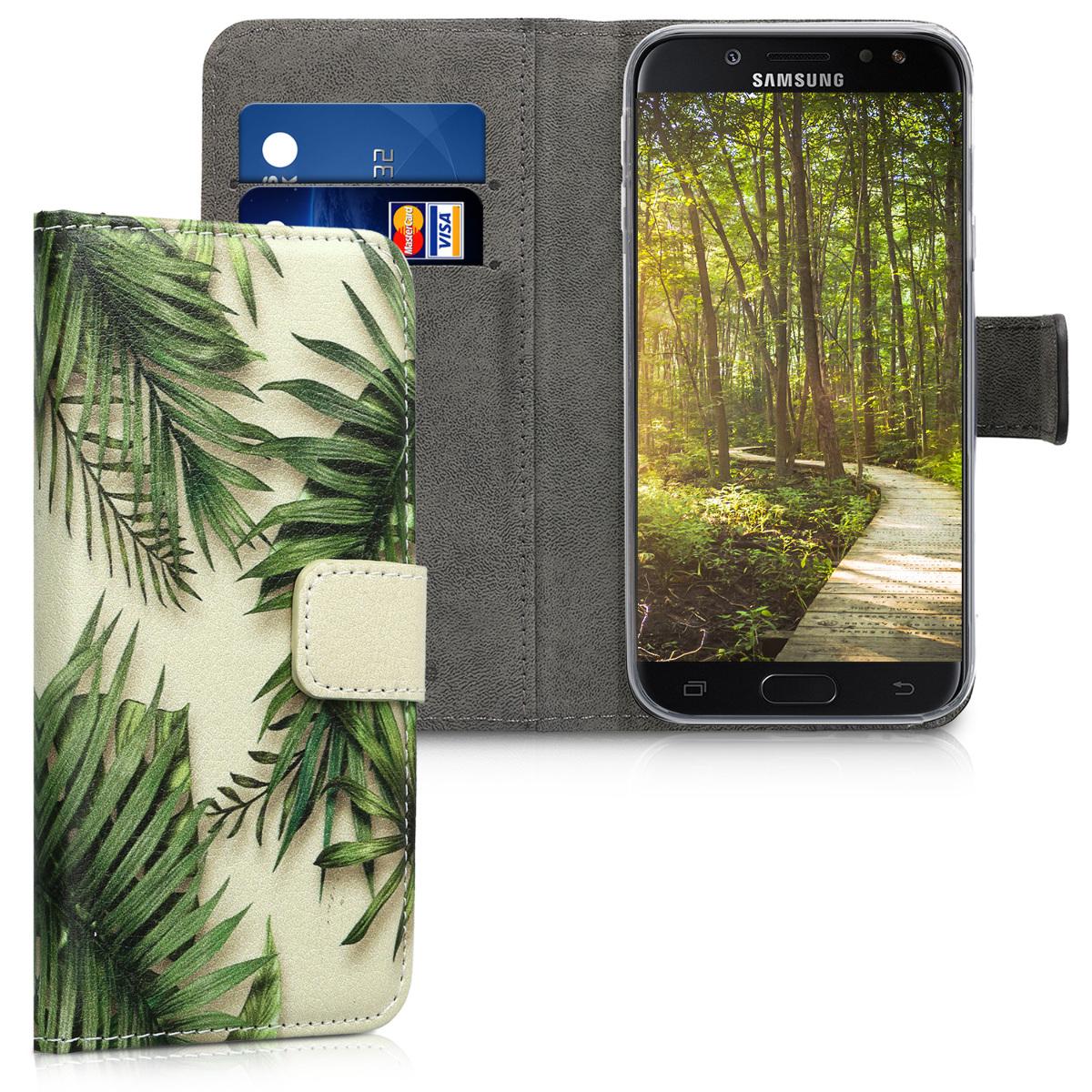 Kožené pouzdro pro Samsung J5 (2017) DUOS - Palmového listí zelené / Béžová