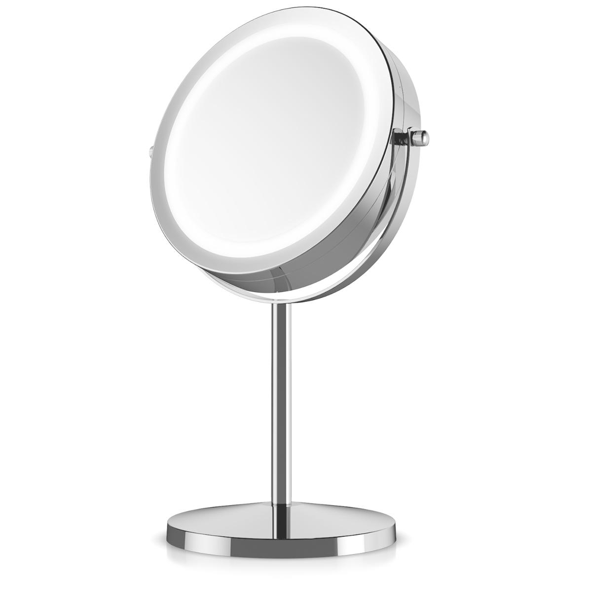 navaris led kosmetikspiegel mit 5 fach zoom beleuchteter drehbarer standspiegel ebay. Black Bedroom Furniture Sets. Home Design Ideas
