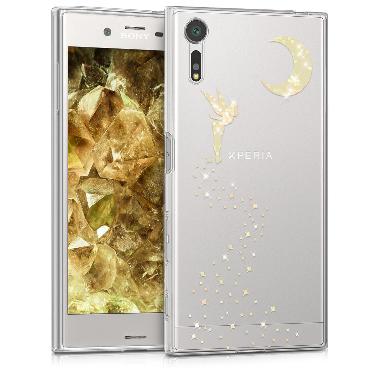 Kvalitní silikonové TPU pouzdro | obal pro Sony Xperia XZ / XZs - Třpytivé víla zlaté / průhledné