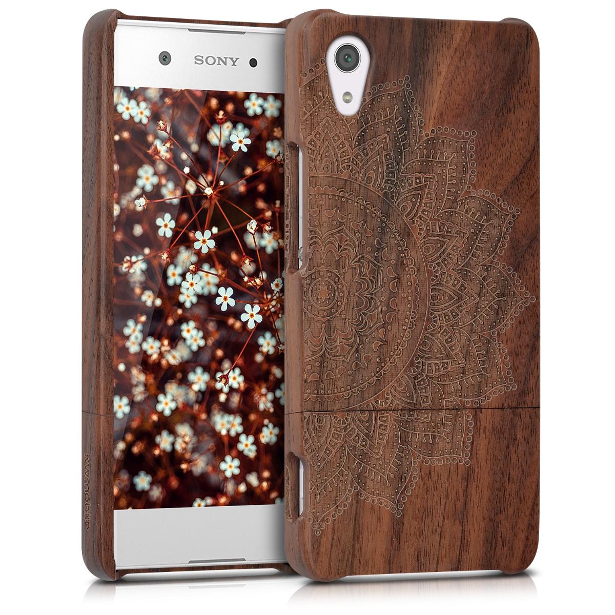 Dřevěné pouzdro | obal pro Sony Xperia XA1 - Semi-květina tmavé hnědé