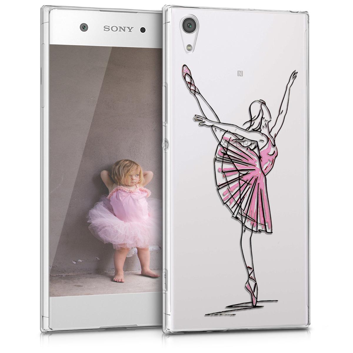 Kvalitní silikonové TPU pouzdro | obal pro Sony Xperia XA1 Ultra - Docela balerína černé / růžové / průhledné