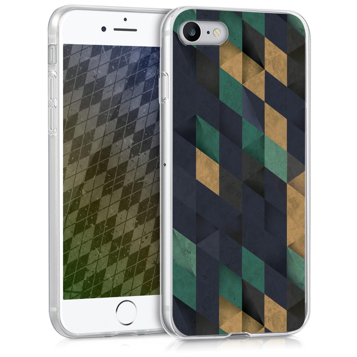 Kvalitní silikonové TPU pouzdro pro Apple iPhone 7 / 8 / SE  - Mosaic Dark Blue | Benzin | Beige