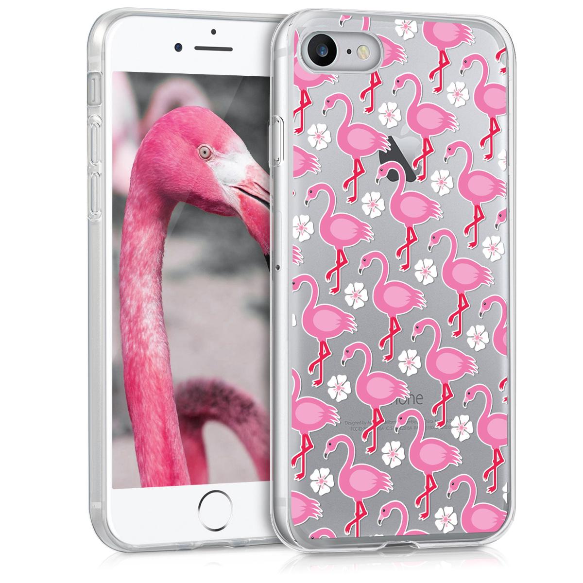 Kvalitní silikonové TPU pouzdro pro Apple iPhone 7 / 8 / SE  - Plameňáci & Flowers Tmavě Pink | White | Transparent